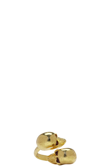 Alexander McQueen - Gold Twin Skull Ring