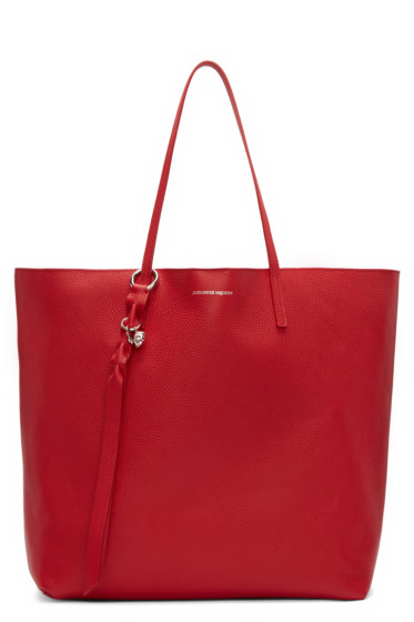 Alexander McQueen - Red Leather Skull Tote Bag