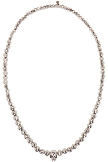 Alexander McQueen - Silver Skull Ball Beaded Necklace