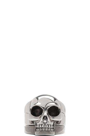 Alexander McQueen - Silver Divided Skull Ring Set