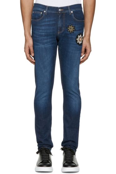 Alexander McQueen - Indigo Embroidered Badges Jeans