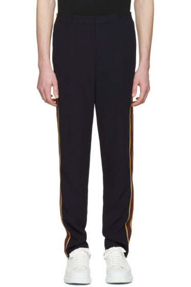 Alexander McQueen - Navy Racer Stripes Trousers