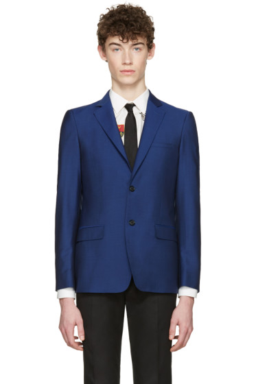 Alexander McQueen - Blue Mohair Two-Button Blazer