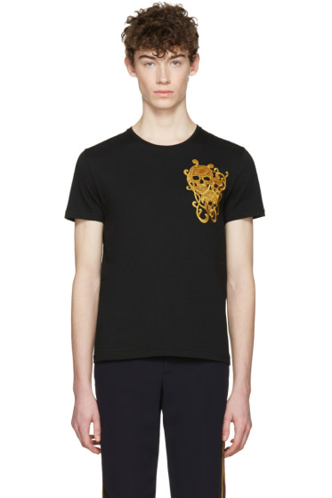 Alexander McQueen - Black Embroidered Skulls T-Shirt
