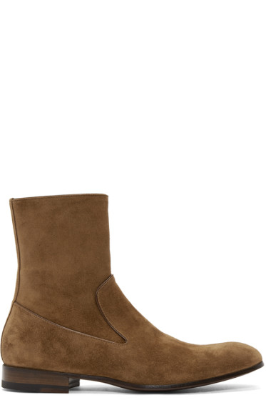 Alexander McQueen - Tan Suede Zip-Up Boots