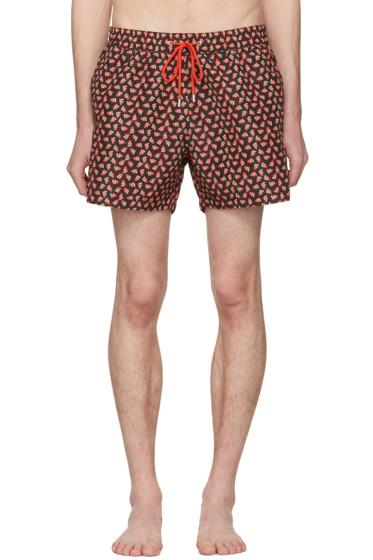Paul Smith - Black Strawberry Skull Swim Shorts