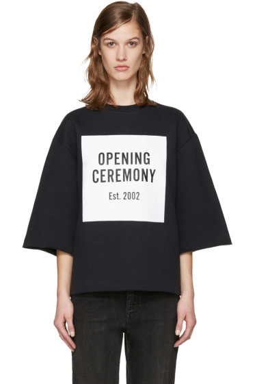 Opening Ceremony - Black Oversized Box Logo Sweatshirt