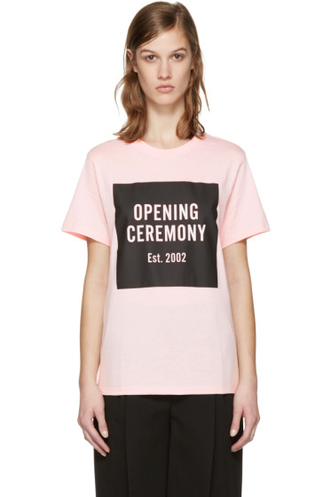 Opening Ceremony - SSENSE Exclusive Pink Box Logo T-Shirt