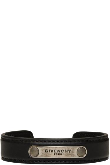 Givenchy - Black Leather Logo Bracelet