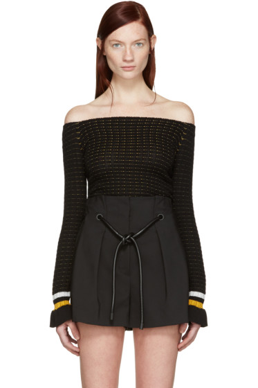 3.1 Phillip Lim - Black Off-the-Shoulder Pullover
