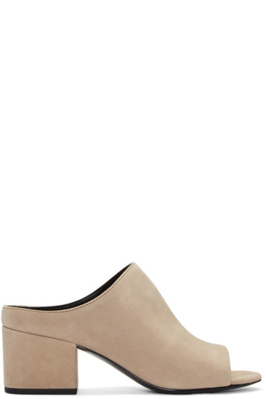3.1 Phillip Lim - Taupe Suede Cube Slip-On Sandals