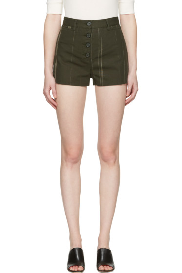 Proenza Schouler - Green Printed Canvas Shorts