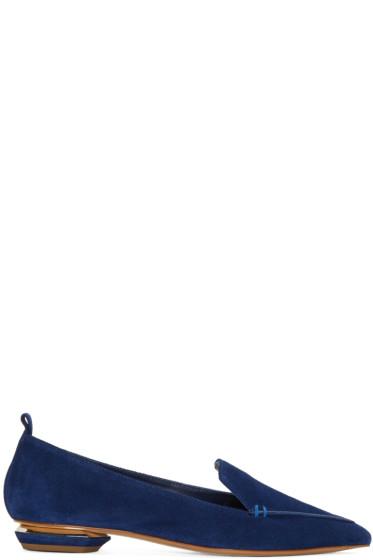 Nicholas Kirkwood - Blue Suede Beya Loafers