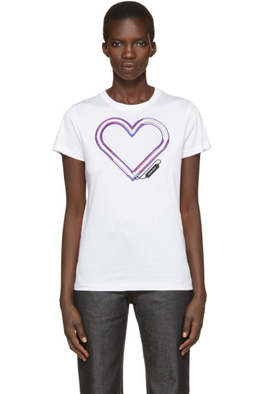 Carven - White Neon Heart T-Shirt