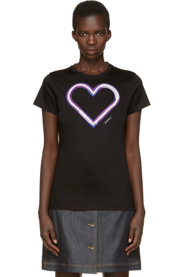 Carven - Black Neon Heart T-Shirt