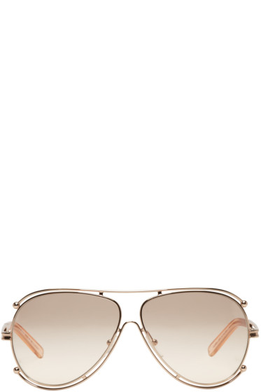 Chloé - Rose Gold Aviator Sunglasses