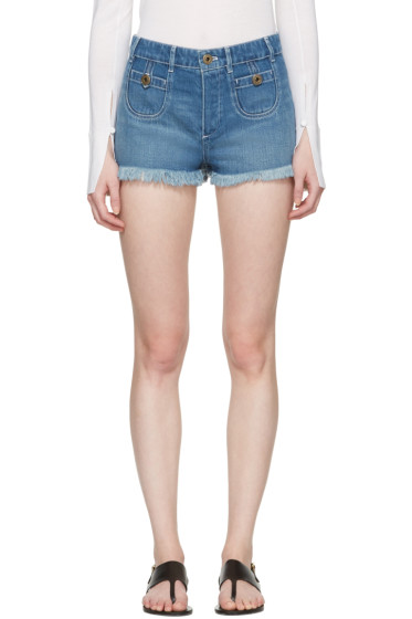 Chloé - Blue Denim Cut-Off Shorts