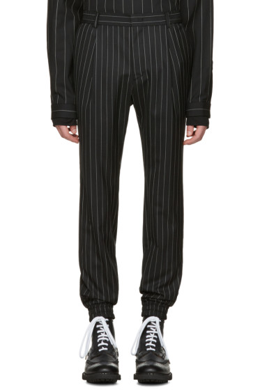 Juun.J - Black Pinstripe Cuff Trousers