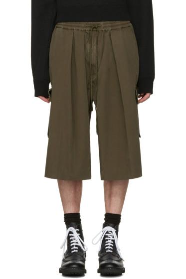 Juun.J - Khaki Drawstring Cargo Shorts
