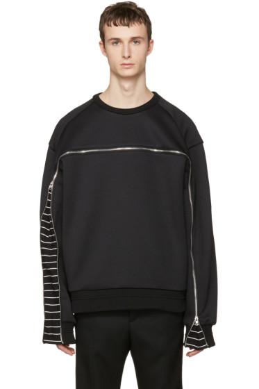 Juun.J - Black Oversized Zipper Pullover