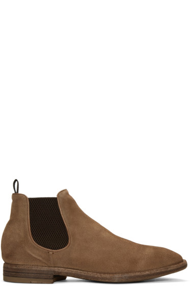 Officine Creative - Brown Suede Princeton Chelsea Boots