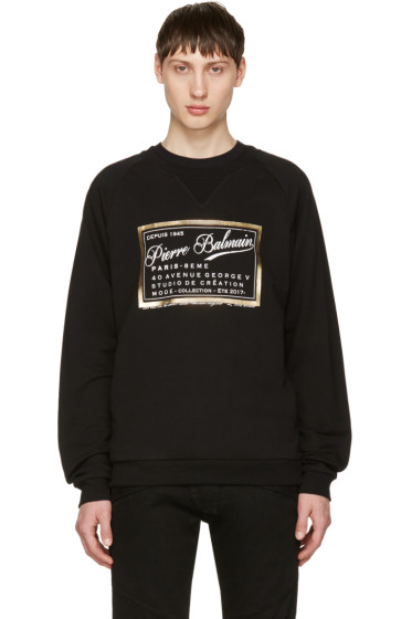 Pierre Balmain - Black Logo Print Pullover