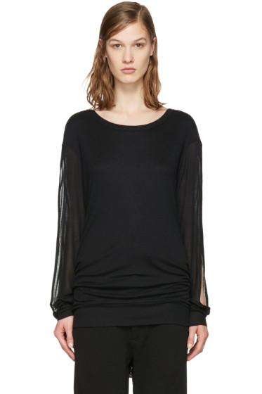 Ann Demeulemeester - Black Slit Sleeve T-Shirt