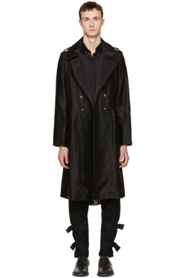 Ann Demeulemeester - Black Military Button Coat