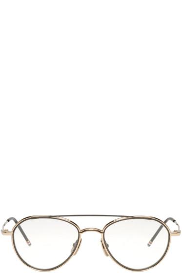 Thom Browne - Gold Aviator Glasses