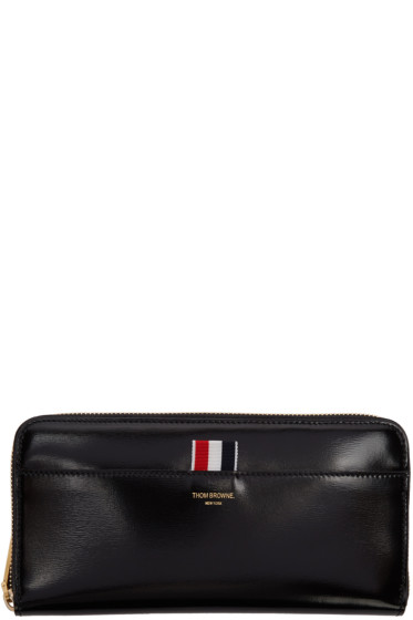 Thom Browne - Black Long Zip Around Wallet