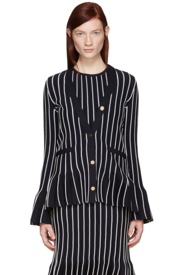 Thom Browne - Navy V-Neck Pleated Jacket