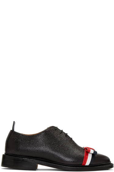 Thom Browne - Black Wholecut Bow Oxfords