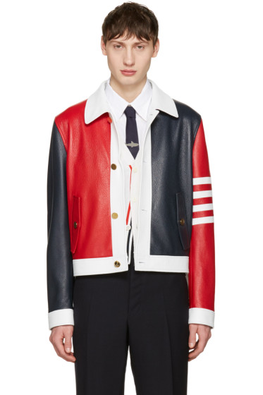Thom Browne - Tricolor Leather Harrington Jacket