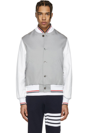 Thom Browne - Grey Cotton & Leather Varsity Jacket