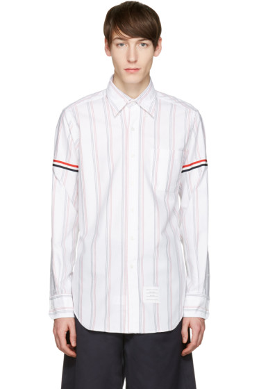 Thom Browne - White Striped Grosgrain Classic Shirt