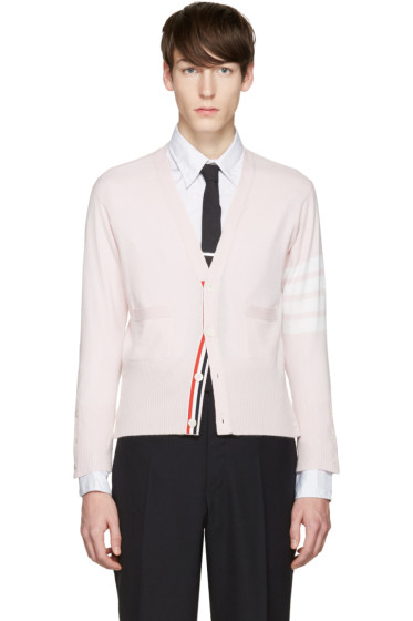 Thom Browne - Pink Classic Short V-Neck Cardigan