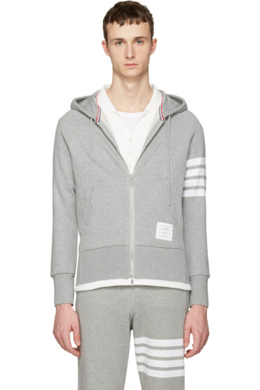 Thom Browne - Grey Classic Four Bar Hoodie