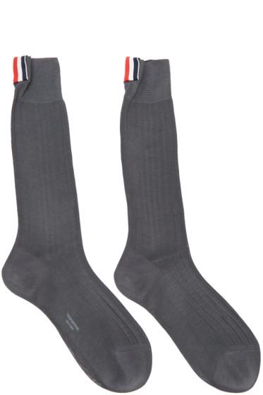Thom Browne - Grey Ribbed Socks