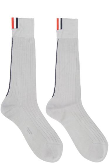 Thom Browne - Grey Striped Socks