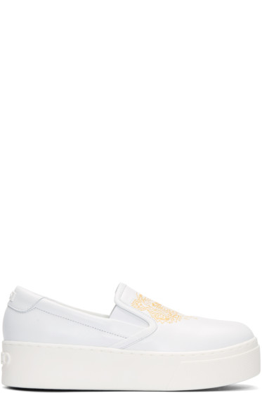 Kenzo - White Leather Tiger Sneakers