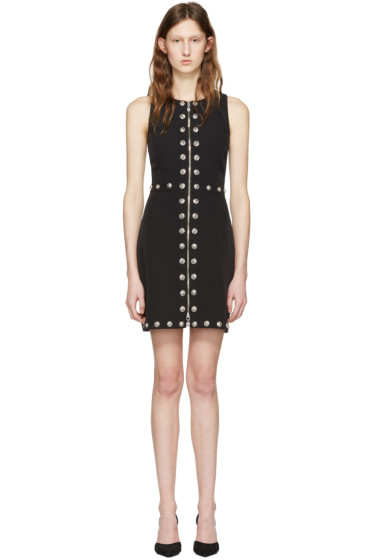 Versus - Black Front Zip Lion Dress
