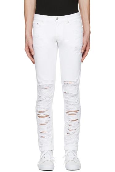 Versus - White Half Destroyed Jeans