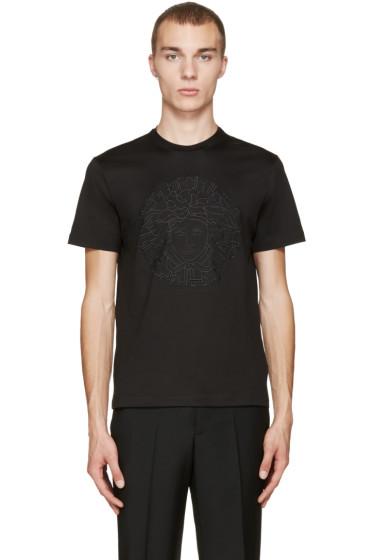 Versace - Black Embroidered Medusa T-Shirt