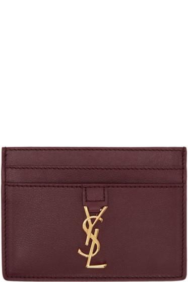 Saint Laurent - Burgundy Leather Card Holder