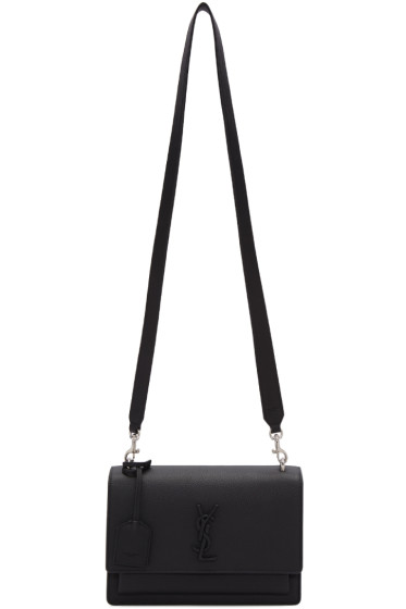 Saint Laurent - Black Leather Medium Monogram Sunset Satchel