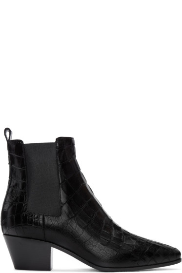 Saint Laurent - Black Croc-Embossed Rock Boots