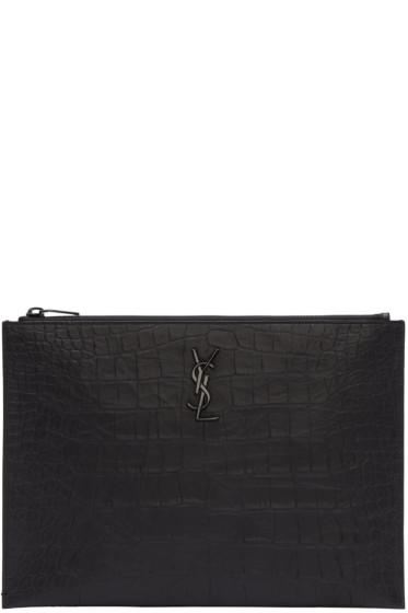 Saint Laurent - Black Croc-Embossed Monogram Document Holder