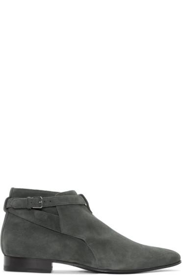 Saint Laurent - Grey Suede London Jodhpur Boots