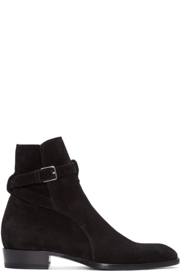 Saint Laurent - Black Suede Wyatt Jodhpur Boots