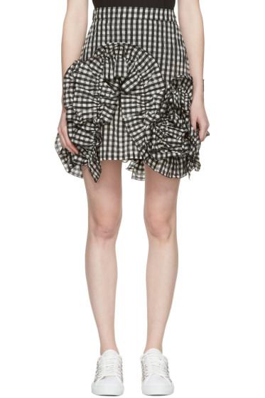 MSGM - Black Check Ruffle Miniskirt